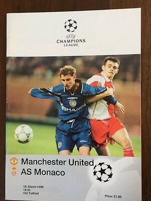 MATCH PROGRAMME UEFA CHAMPIONS LEAGUE MAN UTD v AS MONACO 18.03.98