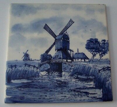 """Vintage Blue And White 6"""" Windmill Tile/trivet - Made In Belgium"""