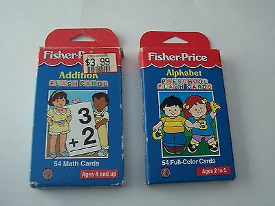 Lot Of 2 1997 Fisher-Price Flash Cards - Alphabet And Addition
