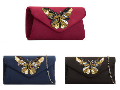 H2089 Black  Burgundy Navy Butterfly Suede Evening Clutch Party Prom Wedding Bag
