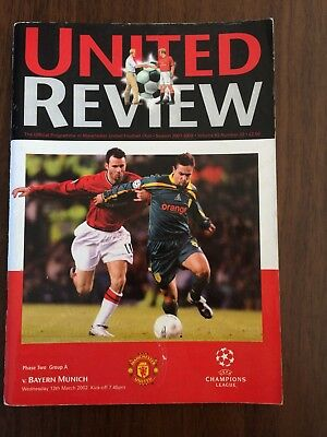MATCH PROGRAMME UEFA CHAMPIONS LEAGUE MAN UTD v BAYERN MUNICH 13.03.02