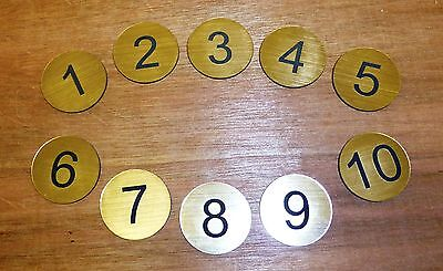 Table/Locker numbers engraved 30mm Diameter