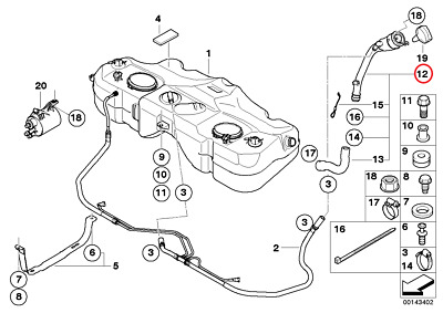 MINI R50 R53 Fuel Tank Filler Pipe Assembly