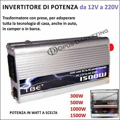 Invertitore Di Potenza Power Inverter 12V 220V Per Auto 300W 500W 1000W 1500W