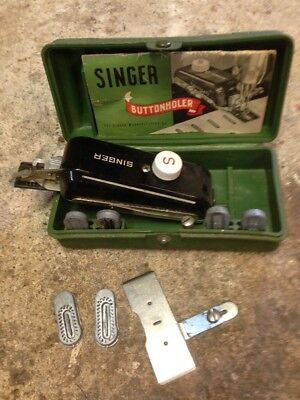 1940's Vintage Singer Sewing Machine Button Hole Complete with Case Buttonholer