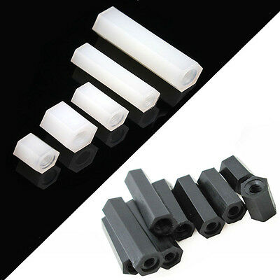 White Black Plastic Spacer Nylon Hexagonal Pillar Nut Double Pass Tapped Spacer