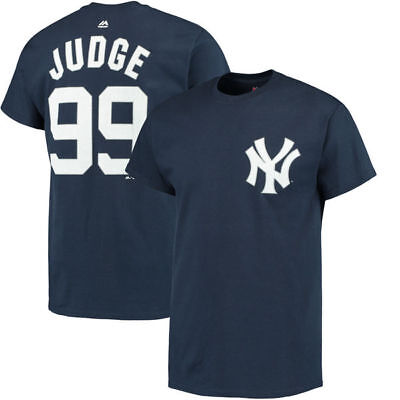Aaron Judge #99 New York Yankees Majestic Official Name & Number T-Shirt - Navy