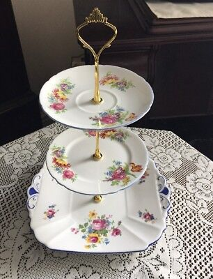 Pretty Vintage SHELLEY Bone China 3 Tier Mismatched Cake Stand New Price