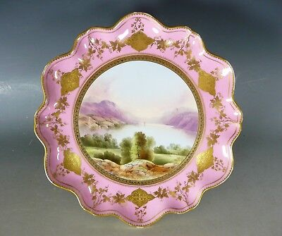Antique Aynsley Porcelain Tazza Cake Stand Thirlmere Lake L19Thc