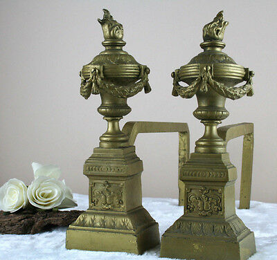 PAIR antique brass iron Andirons fireplace louis XVI style French