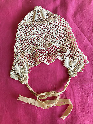Antique Victorian Baby Hat Bonnet Crochet Leaves Roses Gorgeous