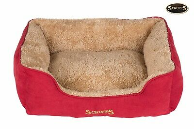 Scruffs Cosy Collection Burgundy Red Plush Dog Pet Bed Free Delivery