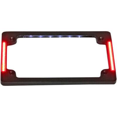 Custom Dynamics Black Tri Horiz Run Brake Turn License Plate Frame w LED Harley