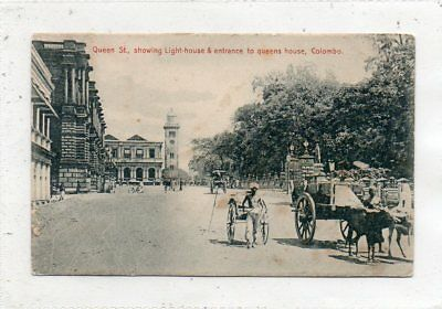 """""postcard Queen St.showing Light-House & Entrance To Queens House,colombo,ceylo"