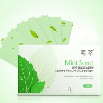 80 Facial Oil Control Sheets Absorbing Tissue Face Mint Blotting Paper Suction