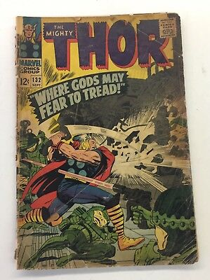 """The Mighty Thor """"Where Gods May Fear To Tread"""" 132 Comic Book Lot Silver Age 12c"""
