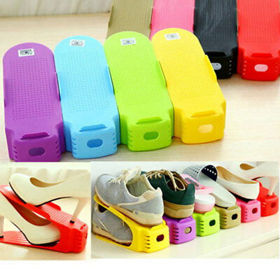 Creative Plastic Shoes Rack Organizer Space-Saving Storage Adjustable Durable US