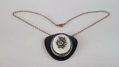 Beautiful Vintage Victorian  Mourning Floral Cabochon Pendant Necklace