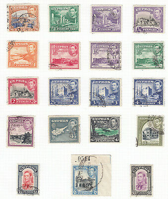 CYPRUS-1938-51 ¼p - £1.  A fine used set of 19 Sg 151-163