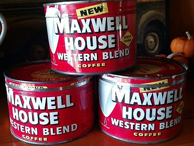 3 Vintage Western Blend Maxwell House coffee can tins 1 lb with lids Advertising