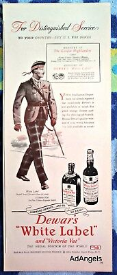 1944 Dewars White Label Victoria Vat Honours Of The Gordon Highlanders  ad