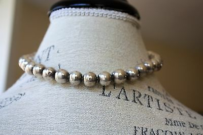 Vintage Sterling Silver Bead Necklace Mexico 925 length 16.5 inches