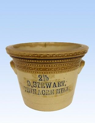 STONEWARE ADVERTISING BUTTER CROCK, 2Ib, D. STEWART, THIN ACRE MILL
