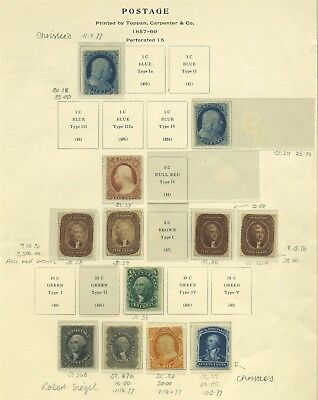 US Mint perf 15 issues to 90c #39 with rare 5c shades #28 & #29 Cat $87,090