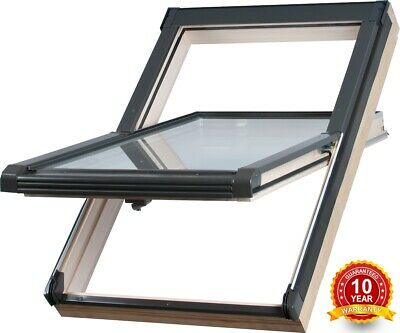 Wooden Timber Roof Window 47 x 78cm Double Glazed Centre Pivot Skylight Rooflite