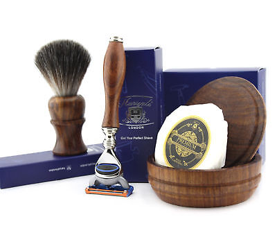 4 PCs Wooden Shaving Set With 5 Edge Blade,Pure Badger Hair Brush,Soap & Bowl
