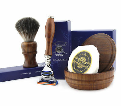 4 PCs Wooden Shaving Set With Gillette Fusion,Pure Badger Hair Brush,Soap & Bowl