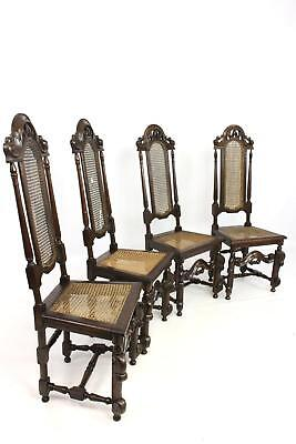 Set of 4 Antique Oak 17/18thC Jacobean Style Highback Bergere Cane Dining Chairs