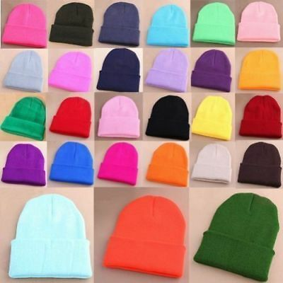 Men's Women Knit Ski Cap Hip-Hop Blank Color Winter Warm Unisex Beanie Wool Hat