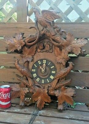ANTIQUE GERMAN FINE 1890'S HAND CARVED WALL HANGING CUCKOO CLOCK Parts or Repair