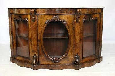 Antique Victorian Burr Walnut Credenza Sideboard Cabinet with Marble Top