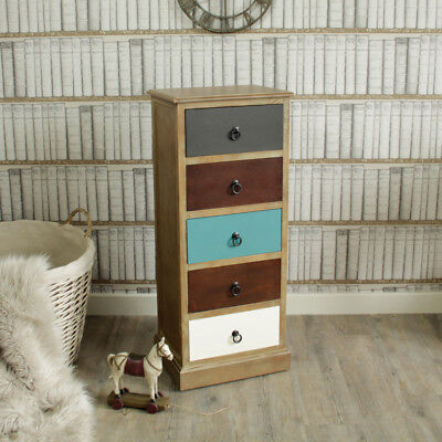 Reclamation loft living 5 drawer tall boy chest of drawers multi coloured wood