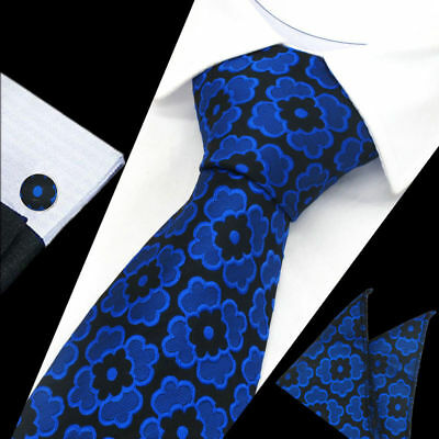 Mens Classic Royal Blue Floral Silk Tie Handkerchief Hanky Cufflinks GIFT SET
