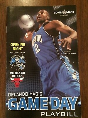 ORLANDO MAGIC v CHICAGO BULLS NBA OPENING NIGHT GAME DAY PLAYBILL 1 NOV 2006