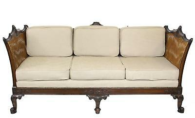 Quality Antique 19thC Continental Mahogany Double Cane Bergere Sofa Settee