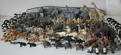 Huge Collection of Britains Plastic Zoo Animals Elephants Rhinos Hippos Fence