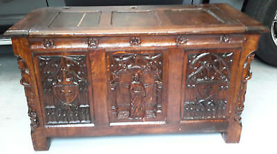 Beautiful Antique Oak Coffer Chest Circa 17th Century