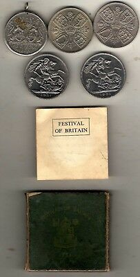 5 x crownsize coins,2 x 1951 ,1953,1960,and 2nd war defence medal