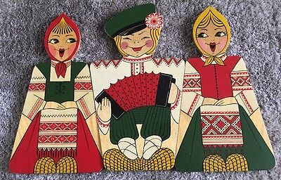 Retro Russian Girl Boy Shaped Wooden Chopping Boards x3 Quirky Cute