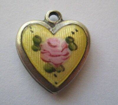 VINTAGE Sterling Enamel Yellow Cabbage ROSE Flower Silver Heart Charm