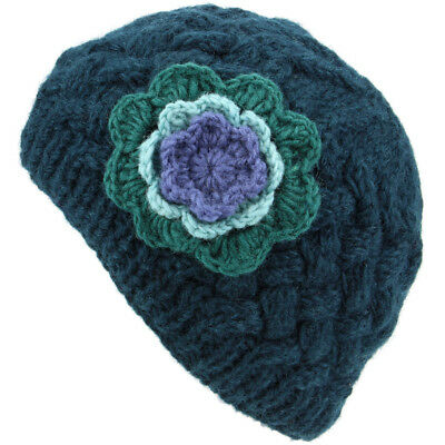 Hat Wool Cable Knit Beanie Wiith Contrast Flower Winter Warm Hand Made Womens