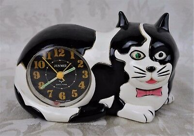 Vintage 1989 Retro Black and White Cat Alarm Clock For Repair Made in Taiwan