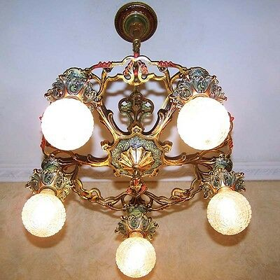 979 Vintage 20s 30s Ceiling Light fixture art nouveau poly-chrome chandelier
