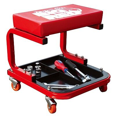 Torin Rolling Creeper Seat Garage/Shop Seat Mechanic Stool with Tool Tray, Red