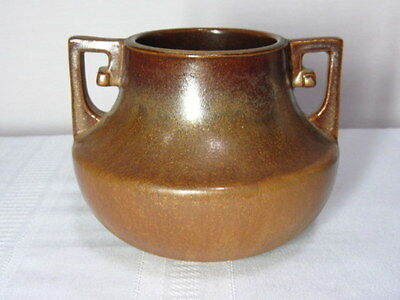 Fulper Pottery, Squat Buttressed Handled Copper Dust Vase, Htf, Rare~~~