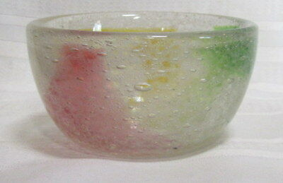 Stevens And Williams, Bubble Design, Rainbow, Art Glass Bowl, Very Nice~~~